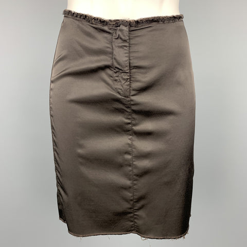 MM6 MAISON MARGIELA Size S Brown Raw Edge Pencil Skirt