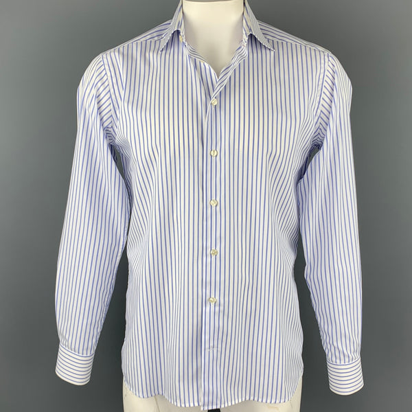 ETON Size M White & Blue Stripe Cotton Button Up Long Sleeve Shirt