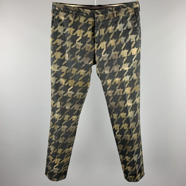 PAUL SMITH Size 32 Olive & Black Houndstooth Cotton Zip Fly Dress Pants