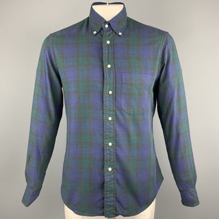 GITMAN VINTAGE Size M Green & Navy Plaid Cotton Button Down Long Sleeve Shirt