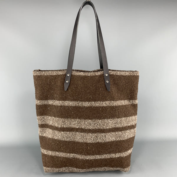 STEVE MONO Striped Textured Brown Wool Black Leather Straps Tote Bag