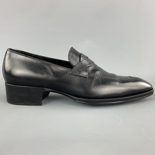 TOM FORD Size 12 Black Solid Leather Slip On Loafers
