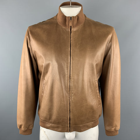 RALPH LAUREN L Tan  Leather Zip Up Slit Pockets Bomber Style Jacket