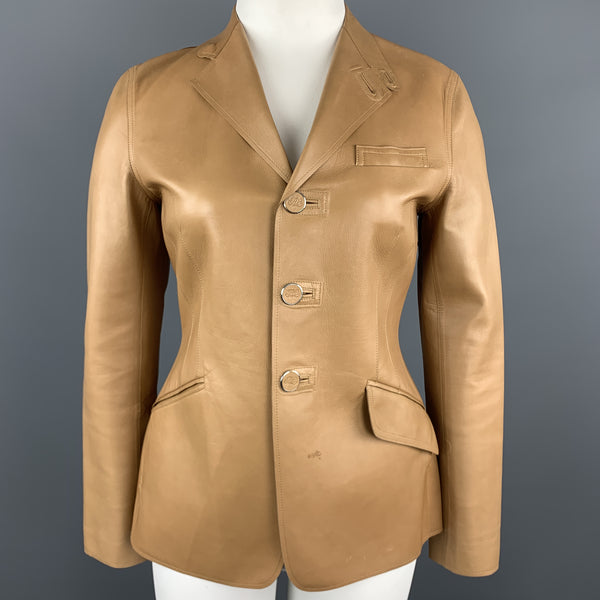 RALPH LAUREN Size 10 Tan Calf Leather Blazer