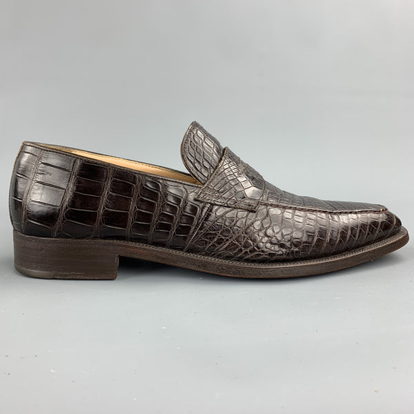 GRAVATI for WILKES BASHFORD Size 8.5 Brown Textured Crocodile Penny Loafers