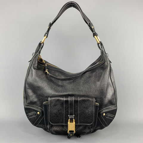 MARC JACOBS Black Leather Gold Tone Lock Zip Hobo Handbag