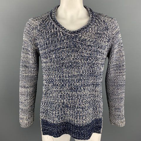 BURBERRY PRORSUM Spring 2012 Size L Navy & White Knitted Wool Fisherman Scoop Neck Sweater