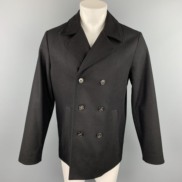 SAMUJI Size 40 Black Wool Double Breasted Peacoat