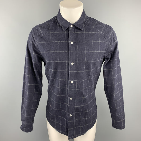 CWST Size S Navy Plaid Cotton Button Up Long Sleeve Shirt