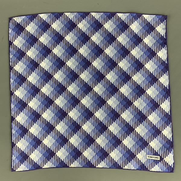 TOM FORD Light Blue & Purple Plaid Silk Pocket Square