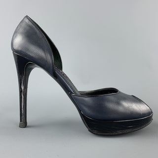 RALPH LAUREN Size 7 Navy & Black Leather Peep Toe Pumps