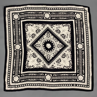 VERSACE Black & White Baroque Twill Silk Large Scarf