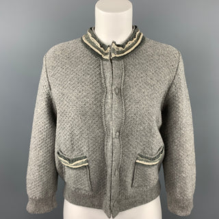 FENDI Size 6 Gray Wool Knitted Ruffle Trim Cardigan