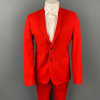 GIVENCHY F/W 12 Size 40 Red Wool / Cotton Notch Lapel Suit