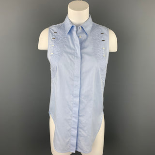 3.1 PHILLIP LIM Size 2 Light Blue Striped Poplin Cotton Blouse