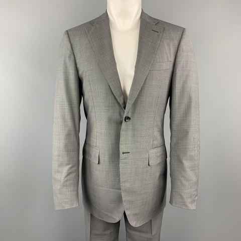 CANALI Size 38 Gray Nailhead Virgin Wool Notch Lapel Suit