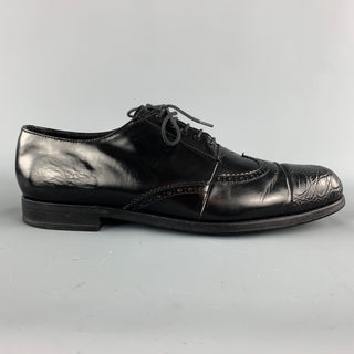 PRADA Size 9 Black Perforated Leather Wingtip Textured Cap Toe Lace Up Shoes
