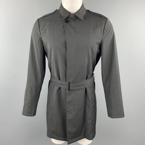 EMPORIO ARMANI XXL Black Virgin Wool Epaulettes Trenchcoat