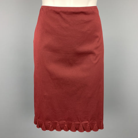PRADA Size 8 Burgundy Cotton Blend A-Line Skirt