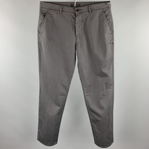THEORY Size 34 Charcoal Cotton Zip Fly Casual Pants
