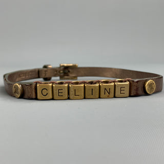 CELINE Gold Leather Metal Alphabet Block Bead Double Wrap Bracelet