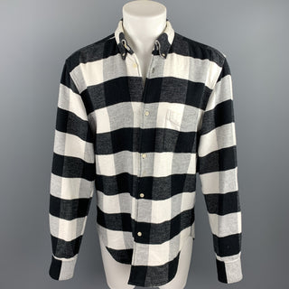 OUR LEGACY Size 40 Black & White Checkered Brushed Cotton Long Sleeve Shirt