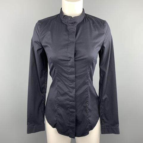 PRADA Size 4 Navy Stretch Cotton Band Collar Shirt