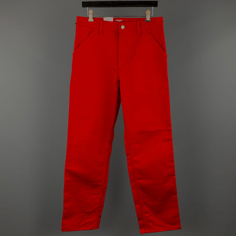 CARHARTT Size 30 Red Solid Cotton Zip Fly Casual Pants