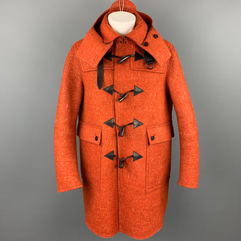 BURBERRY PRORSUM F/W 2011 Size 40 Orange Heather Wool Toggle Closure Coat