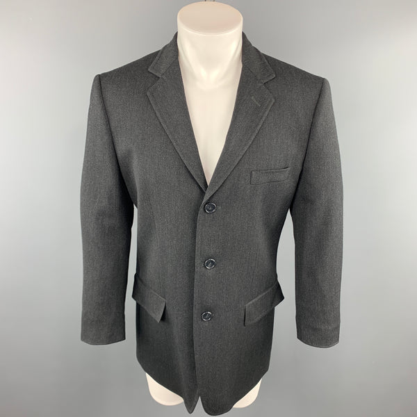 DOLCE & GABBANA 40 Charcoal Solid Wool Blend Notch Lapel  Sport Coat
