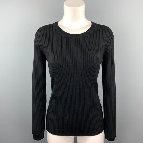 ST. JOHN Size S Black Ribbed Wool Round Neck Pullover