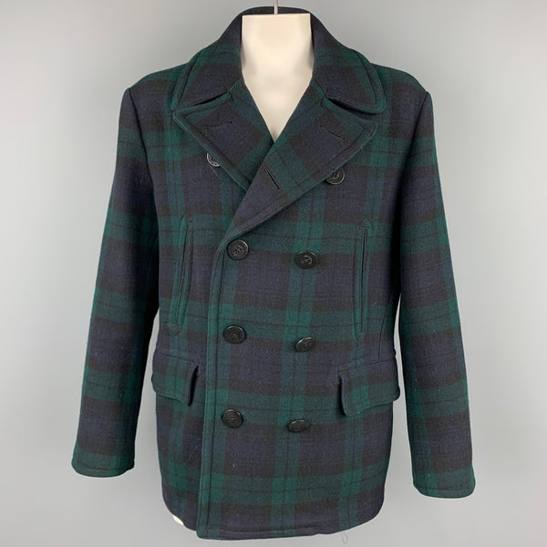 POLO by RALPH LAUREN Size XL Blackwatch Plaid Wool Double Breasted Peacoat