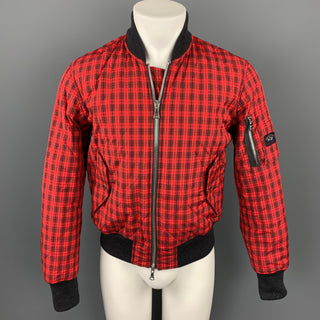 NICK WOOSTER x PAUL SHARK Size M Red & Black Plaid Nylon Zip Up Bomber Jacket
