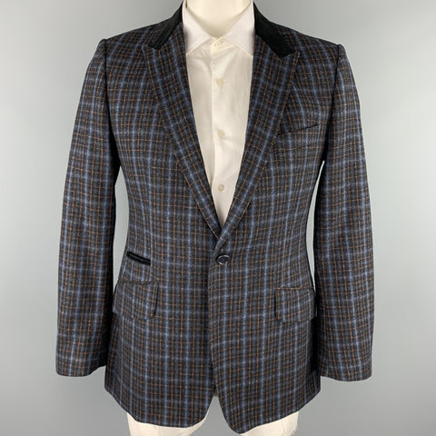 PS by PAUL SMITH Size 42 Navy & Blue Plaid Wool / Cotton Peak Lapel Sport Coat