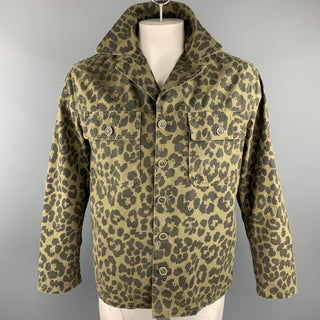 SAINT LAURENT Spring 2016 Size 40 Olive & Black Leopard  Print Cotton Jacket