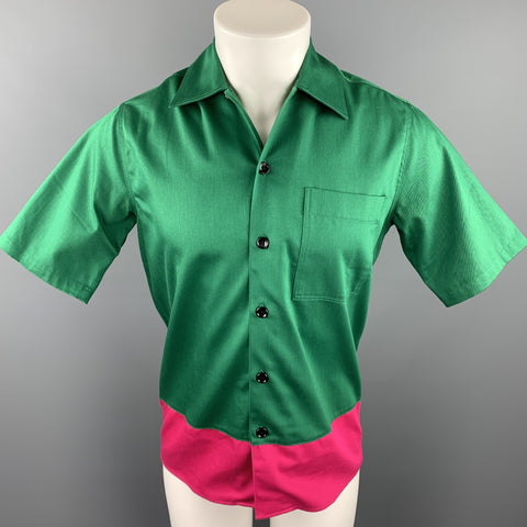AMI by ALEXANDRE MATTIUSSI Size S Green & Pink Color Block Cotton Short Sleeve Shirt