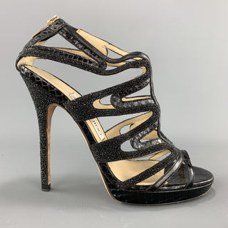 JIMMY CHOO Size 7 Black Snake Skin & Glitter Leather Strappy Sandals