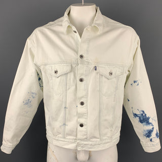 LEVI'S MADE & CRAFTED Big E Size M White Bleached Denim Trucker Jacket