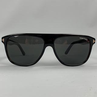 TOM FORD Black & Brown Tortoise Acetate Drop Sunglasses
