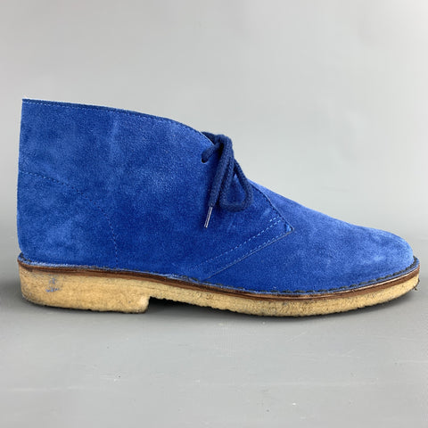 BARNEY'S NEW YORK Size 8 Royal Blue Desert Lace Up Boots