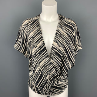ZERO + MARIA CORNEJO Size 4 Cream & Black Stripe Cotton Blend V-Neck Blouse