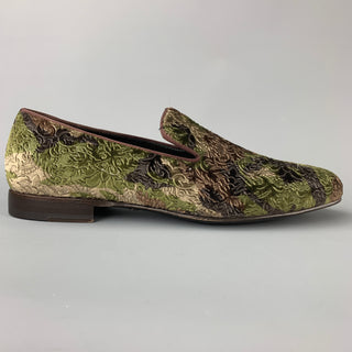 MEZLAN Size 8 Olive & Brown Brocade Velvet Slip On Loafers