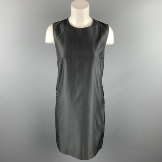 PRADA Size 6 Gray Silk Sleeveless Shift Dress