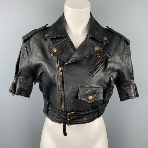 GAULTIER2 by JEAN PAUL GAULTIER Size 8 Black Leather Cropped Motorcycle Jacket