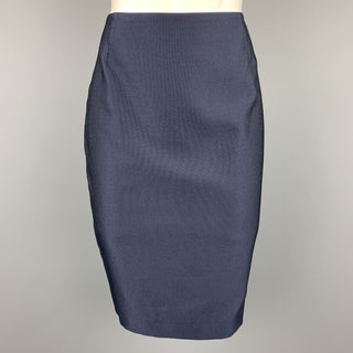 ESCADA Size 6 Navy Cotton / Silk Pencil Skirt