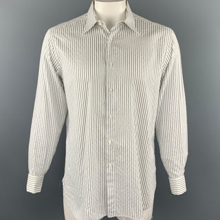 BRIONI Purple Label Size XL Black & White Stripe Cotton French Cuff Long Sleeve Shirt