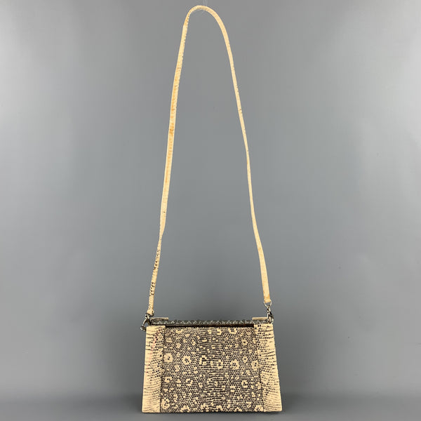 JERI RICE Beige Embossed Faux Leather Rhinestone Evening Handbag