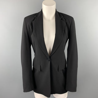 DONNA KARAN Size 2 Black Gabardine Wool Blend Jacket Blazer