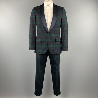 J CREW Chest Size 38 Regular Blackwatch Plaid Wool Shawl Collar Suit