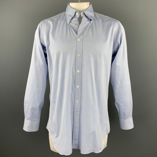 HAMILTON Size L Light Blue Cotton Button Down Long Sleeve Shirt